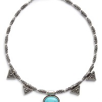Junior Women's BP. Natural Stone Metal Choker - Burnished Silver/ Turquoise