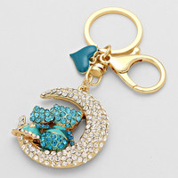 Key Chain Moon One Of A Kind Turquoise