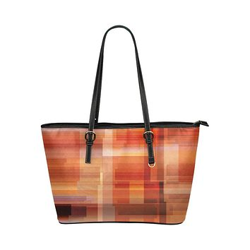 Tote Shoulder Bag with Geometric Autumn Grid Design