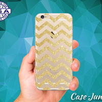 Gold Sparkle Chevron Pattern Glitter Cute Tumblr Inspired Custom Clear Transparent Rubber Case Cover For iPhone 6 and iPhone 6 Plus +