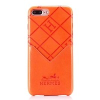 Hermes Fashion New Leather Case Women Men Protective Cover Phone Case Orange