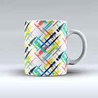 The Intersecting Vector Bright Strokes ink-Fuzed Ceramic Coffee Mug