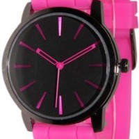 New Geneva Hot Pink w/ Black Silicone Watch