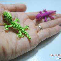 mini crochet lizard  dollhouse miniature stuffed animal by LamLinh