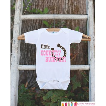 Little Country Bumpkin Bodysuit For Baby Girls - Pink and Brown Western Onepiece - Novelty Onepiece Baby Shower Gift for New Baby Girl