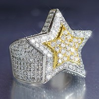 Men's Sterling Silver 3D Double Star Custom Ring
