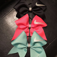 Nike Swoosh Cheer bow !!!! Many colors available!! Red, white,blue,yellow,aqua,orange,pink green and grey!