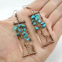 Turquoise earrings, copper wire tree of life, turquoise tree of life, turquoise jewelry, handmade tree of life, tree of life earrings, ooak