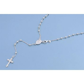 Italian Silver Rosary Necklace Prayer Pendant