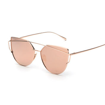 Pink vintage Mirror female Women Cat Eye Sunglasses Brand Designer Twin-Beams ladies Sun glasses for women Oculos Feminino