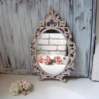 Vintage Pink Ornate Oval Mirror, Shabby Chic Light Pink and Gold Mirror, Baby Pink Mirror, Nursery Decor, Distressed Oval Ornate Mirror