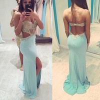 Sexy Mermaid Prom Dresses Sweetheart Sleeveless Floor Length Prom Dress Applique Beaded Backless High Slit Evening Gowns