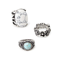 Faux Stone Cocktail Ring Set