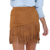 New S-XL Womens Vintage High Waist Suede Fringe Mini Pencil Skirt