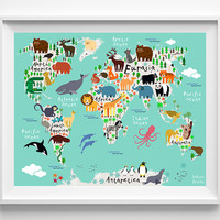 Animal Nursery Art, Animal World Map Poster, World Map Art, Type 6, Animal Print, Kids Room Decor, Baby Room Poster, Mothers Day Gift