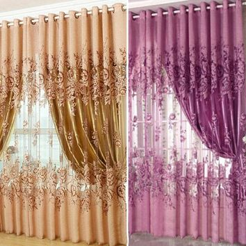 "Peony Pattern Pastoral Voile Curtain Window Valance European Lace Curtains Girls Bedroom Curtains 39.37""x 98.4"""