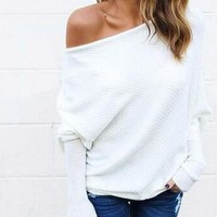 Women's Off The Shoulder Loose Sweatershirt Batwing Sleeve Jumper Shirt Tops Hoddie