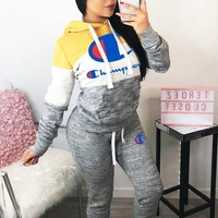 Champion Autumn Winter Popular Women Casual Print Hoodie Top Pants Trousers Set Two-Piece Sportswear