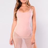 Catrina Lurex Dress - Rose Gold