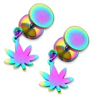 BodyJ4You Fake Plugs Gauges Weed Pot Leaf  Dangle Rainbow Earrings 0G 2 Pieces
