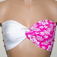 White and Floral Pink Yoga Sport Strapless Twisted Bandeau, Swimwear Bikini Top, Twisted Top Bathing Suits, Spandex Bandeau Bikini
