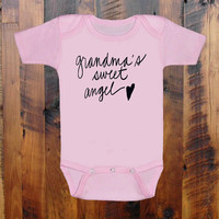 Grandma's Sweet Angel. baby clothing.Baby Shower gift. baby announcement. Grandmother.Mom Mom. Nana. Baby Onezee. creeper, bodysuit.