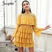 Simplee Ruffle mesh hollow out summer dress Women flare sleeve elegant short dress Chiffon floral print causal dress vestidos