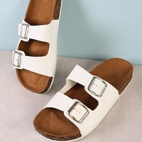 Double Buckle Cork Footbed Slide Sandal WHITE