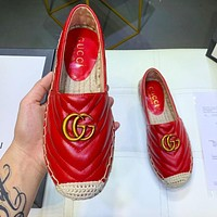 GUCCI Trending Classic Women Comfortable Leather Single Shoes Red