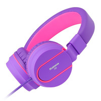 Ailihen I35 Stereo Lightweight Foldable Headphones Adjustable Headband Headsets with Microphone 3.5mm for Cellphones Smartphones Iphone Laptop Computer Mp3/4 Earphones (Purple) Purple '
