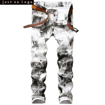 Cheap Mens White Black Skinny Slim Fit Jeans Straight Distressed Denim Pants Party HipHop Fashion Jeans Trouser for Men