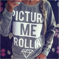 Autumn Spring Women Pullovers Hoodeis Long Sleeve Letter Print Sweatshirts Tops Roupas Female Size S-XL = 1932332612