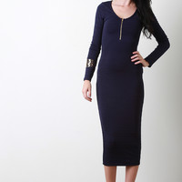 Horizontally Thick Rib Knit Midi Dress