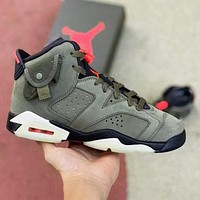 Bunchsun Travis Scott x Air Jordan 6 AJ6 Retro Men Casual Luminous Sport Running Basketball Shoes Sneakers Army Green