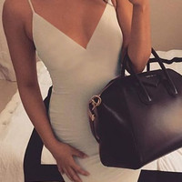 Beige V-Neck Bodycon Dress
