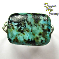 DWJ0207 Gorgeous African Turquoise Solitaire Silver Wire Wrap Ring All Sizes