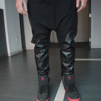 Handmade Black Faux Leather and Cotton Lycra Drop Crotch - Harem Pants for Men and Women