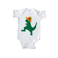 Baby Onesuit - Mexican Dancing Dinosaur with Sombrero