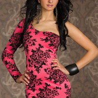 Pink Floral Print Half Shoulder Long Sleeve Mini Dress