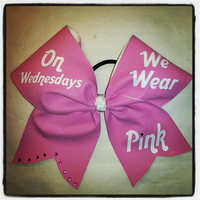 On Wednesdays we wear pink CHEER bow with rhinestones