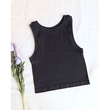 Free People Hayley Brami Crop Tank Top in Black