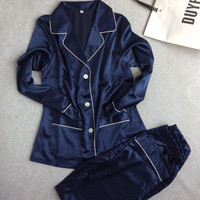 Womens Lace Silk Sleepwear Pajamas Sets Satin Spring Autumn Long-sleeved Pyjama Leisure Loungewear navy blue Set All Seasons