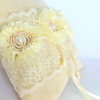 Vintage inspired Ring Bearer Pillow, Burlap, Fall Winter Wedding - Cottage Chic Wedding - Ivory Chiffon Pearls Lace, Hearts,  OOAK