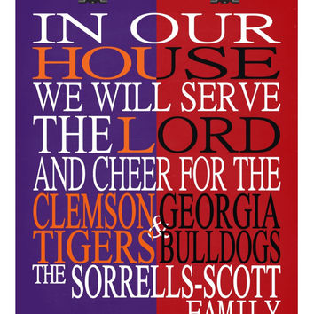 A House Divided - Clemson Tigers and Georgia Bulldogs personalized family poster Christian gift sports art -multiple sizes