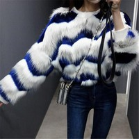 Women Autumn Winter Faux Fur Coats Jackets New 2017 Fox Fur Short Sweatshirt Fur Coat Women Thicken Warm Outerwear A3916