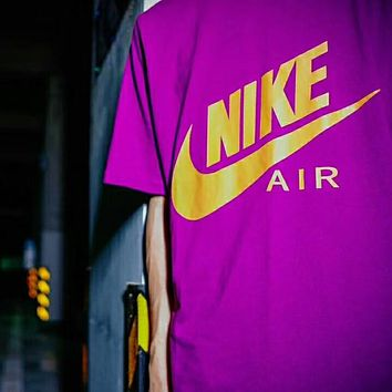 NIKE 2018 summer new men and women couple models trend wild T-shirt F-AG-CLWM purple