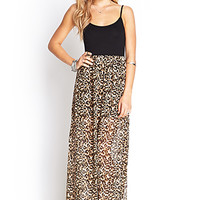 FOREVER 21 Leopard Print Maxi Dress Black/Taupe