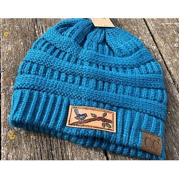 Beanie Hat with Blue Bird Tooled Leather Patch Hat