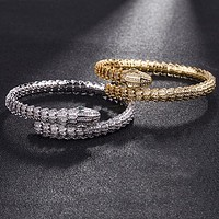 BVLGARI Women Fashion Snake Diamonds Plated Bracelet