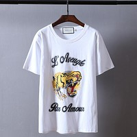 """""""Gucci""""Hot letters print T-shirt top white tiger head"""